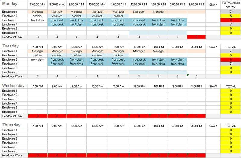 Daily Work Schedule Templates | Creative Template | Creative Template