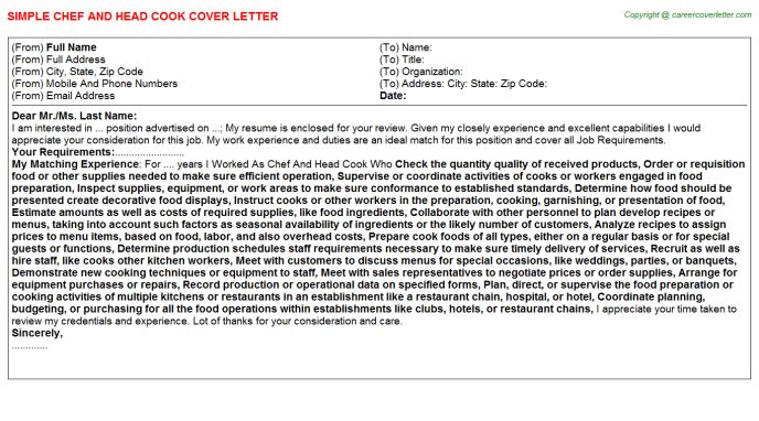 Chef And Head Cook Job Title Docs