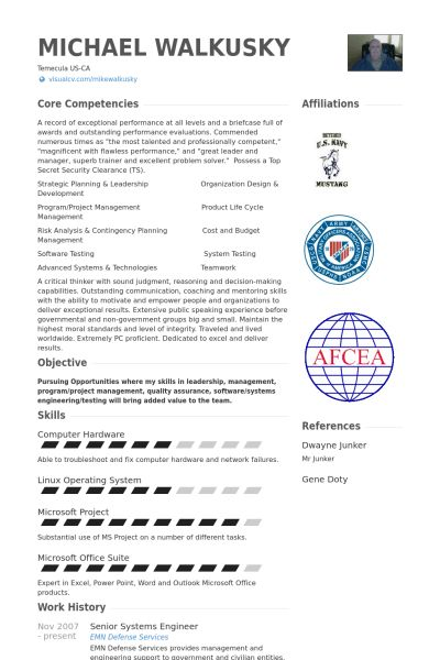 Senior Systems Engineer Resume samples - VisualCV resume samples ...