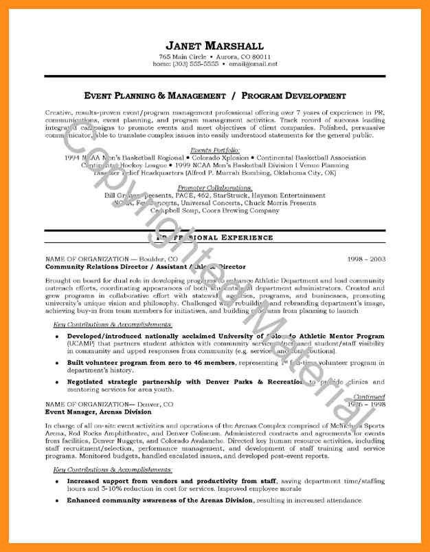 Resume Template – agenda example