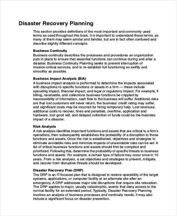9+ Disaster Recovery Plan Examples   Free & Premium Templates