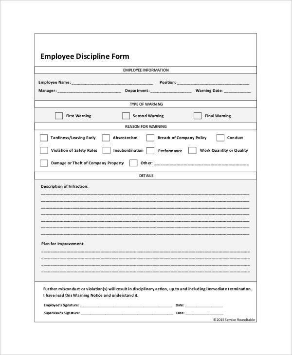 Employee Discipline Form - 6+ Free Word, PDF Documents Download ...