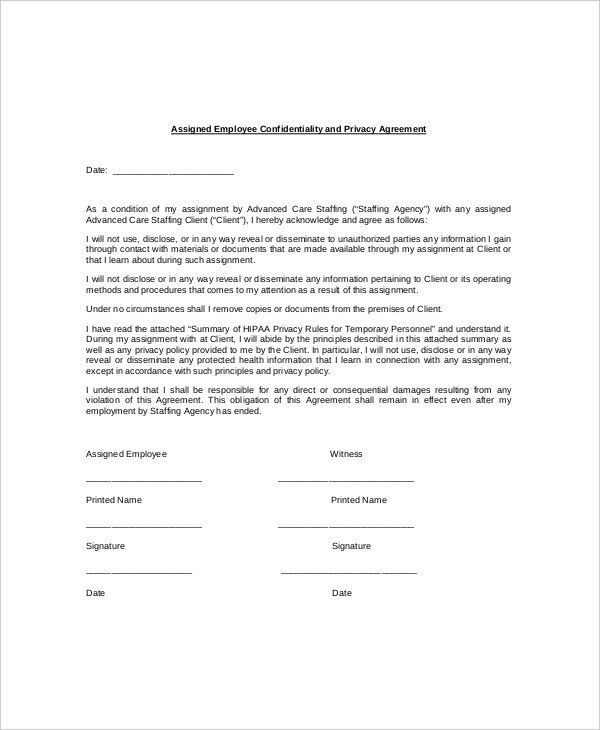 8+ Employee Confidentiality Agreement Templates – Free Sample ...