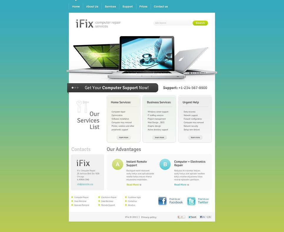 Website Template #45991 Ifix Computer Repair Custom Website ...