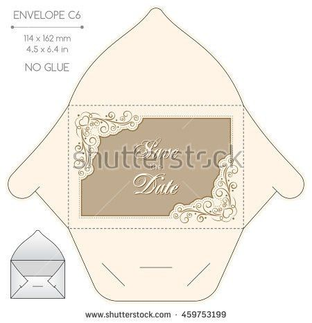 Vector Envelope Template Floral Design Diestamping Stock Vector ...