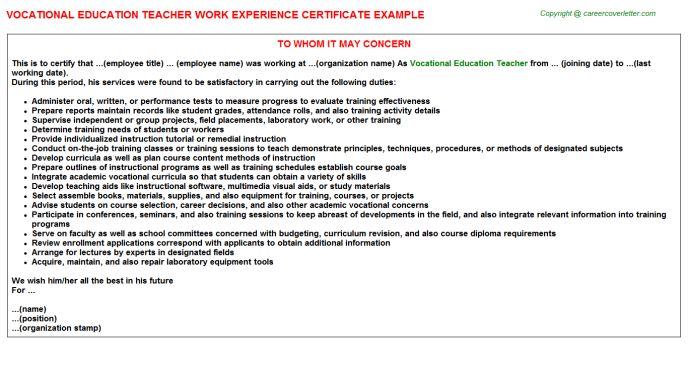 Experience letter for job job experience letter format 1 vocational education teacher work experience certificate yadclub Gallery