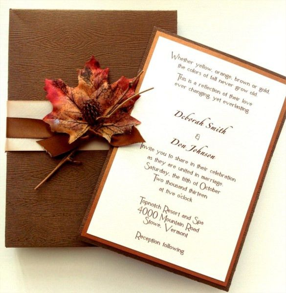 24+ Fall Wedding Invitation Templates – Free Sample, Example ...