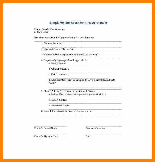 7+ vendor agreement | army memo format