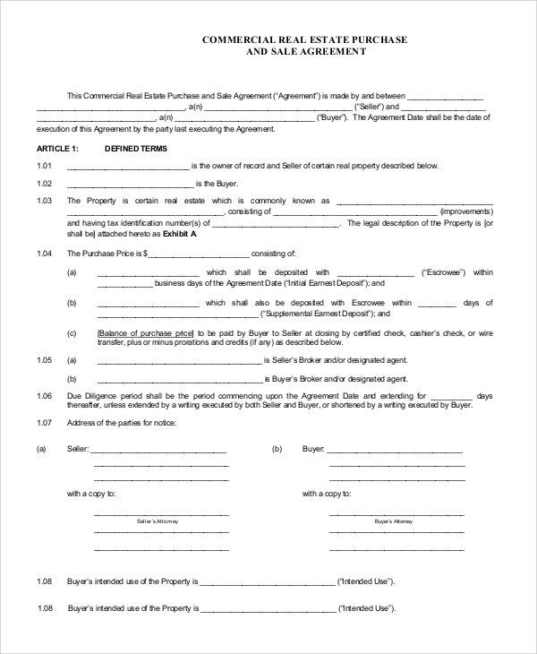 Commercial Real Estate Purchase Agreement. Commercial Real Estate ...