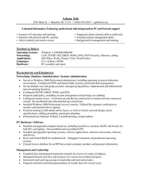 Impressive Network Administrator Resume Template Sample Featuring ...