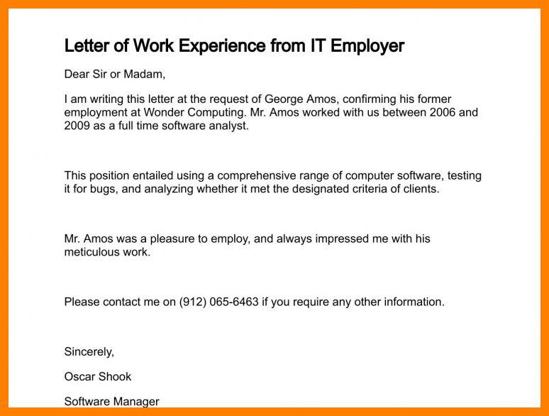 4+ work experience letter samples from employer | joblettered