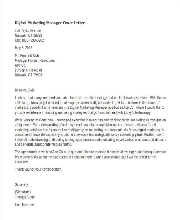 11+ Marketing Cover Letter Templates - Free Sample, Example Format ...