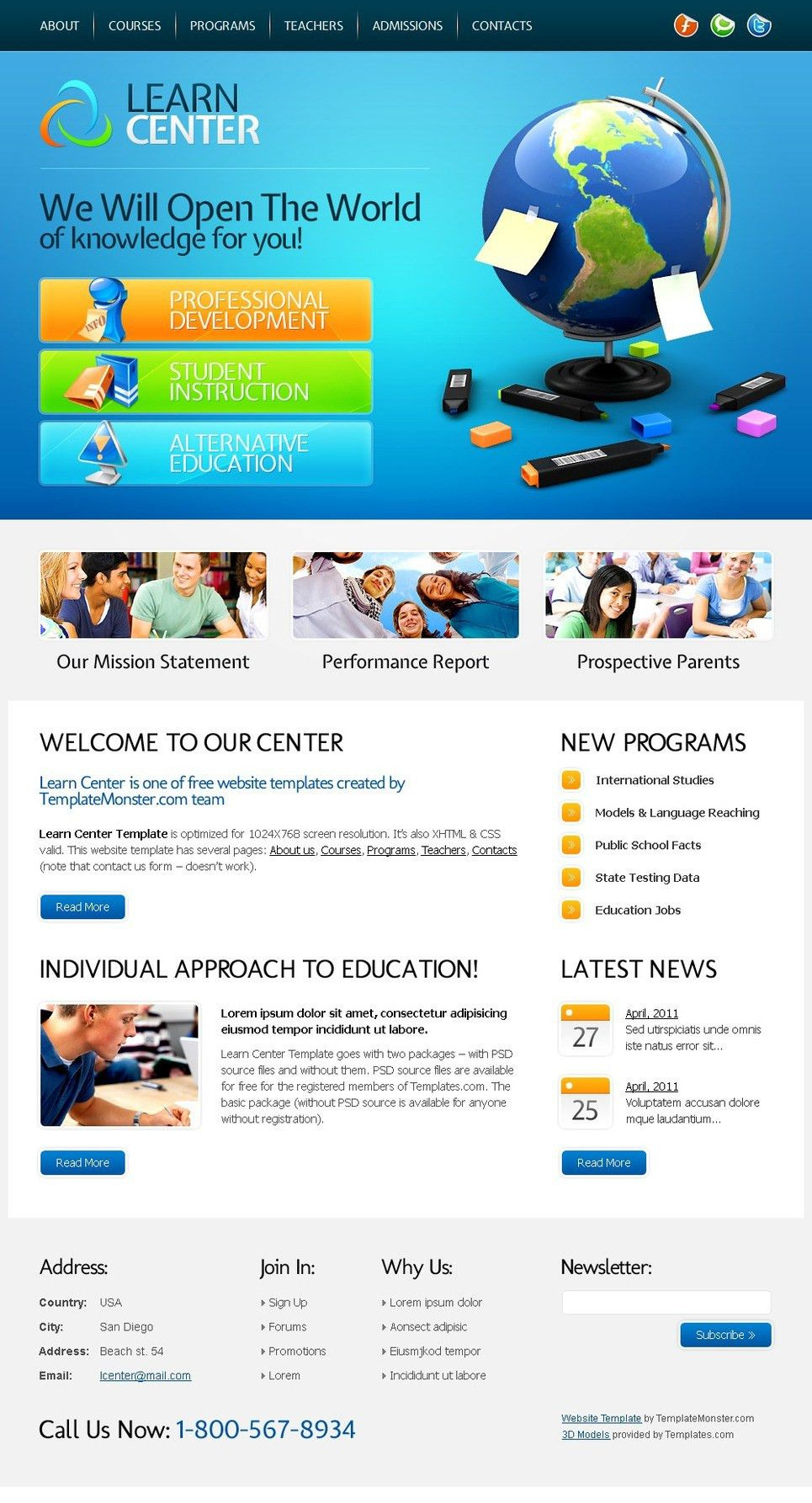 Free Website Template - Learning Center