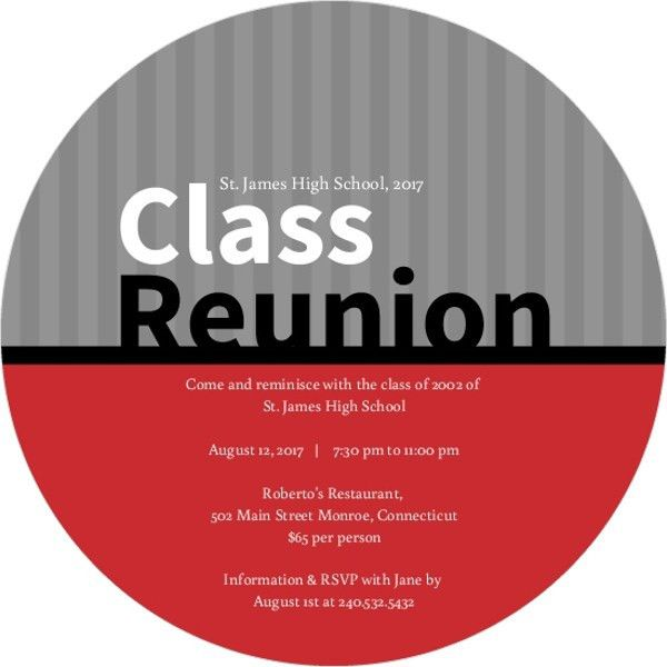 High School & College Class Reunion Invitations