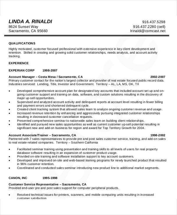 account management resume account manager cv template sample job