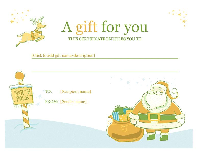 Christmas Gift Certificate Template Template For Word 2013 Or ...