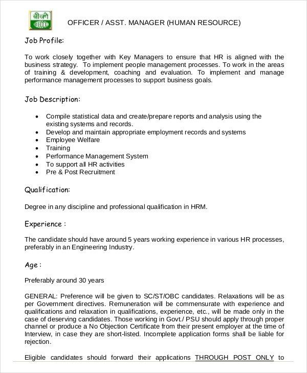 Hr Manager Job Description - 6+ Free Sample, Example, Format ...