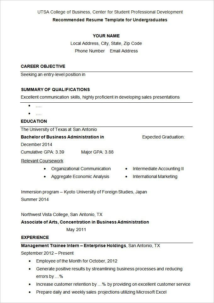 Simple Student Resume Format. New School Resume Formats 4219 Best ...