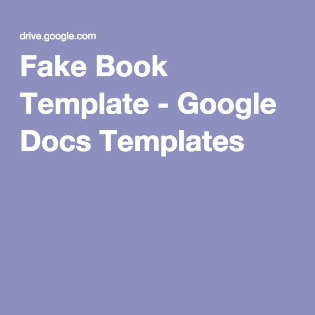 Fake Book Template - Google Docs Templates | All Things Google ...