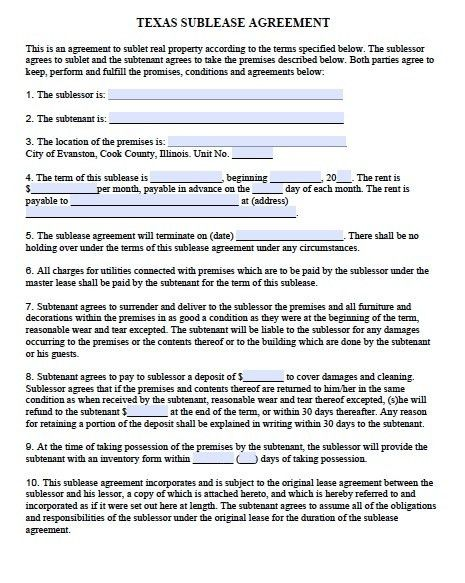 Free Texas Sublease Agreement Form Template – Adobe PDF