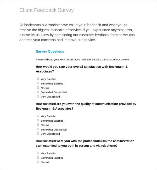 Feedback Survey Template – 10+ Free Word, Excel, PDF Documents ...