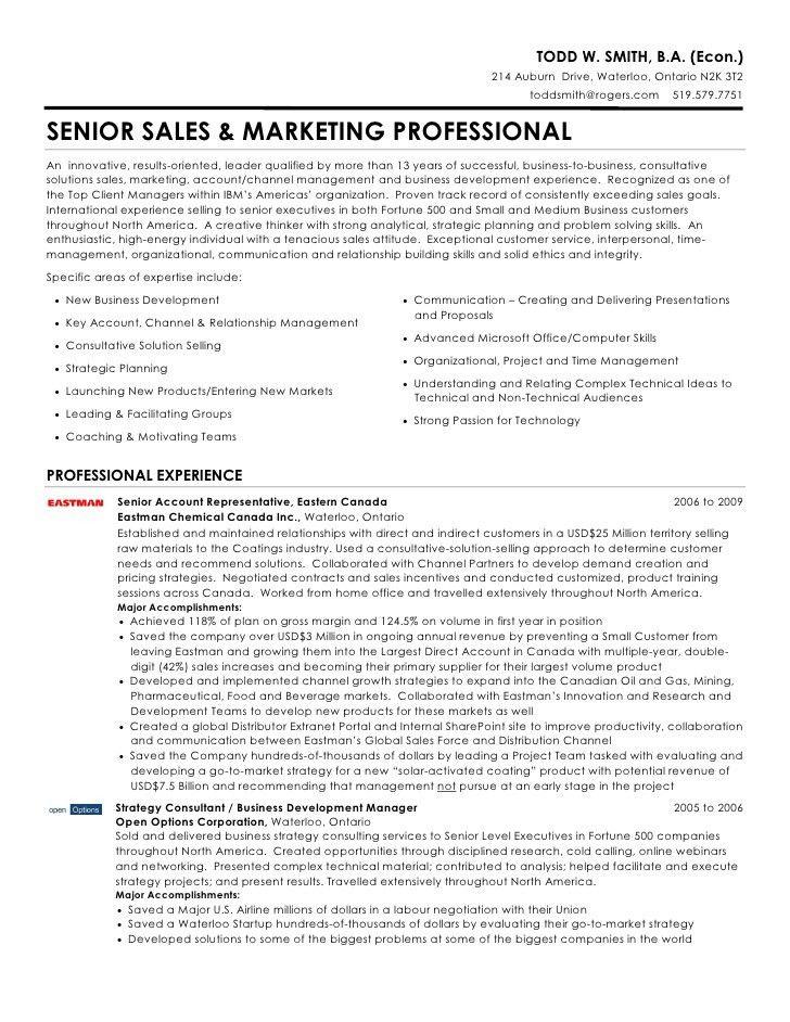 Todd W. Smith - Senior Sales & Marketing Professional Resume