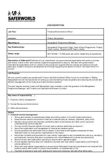 job description of business administration program manager job