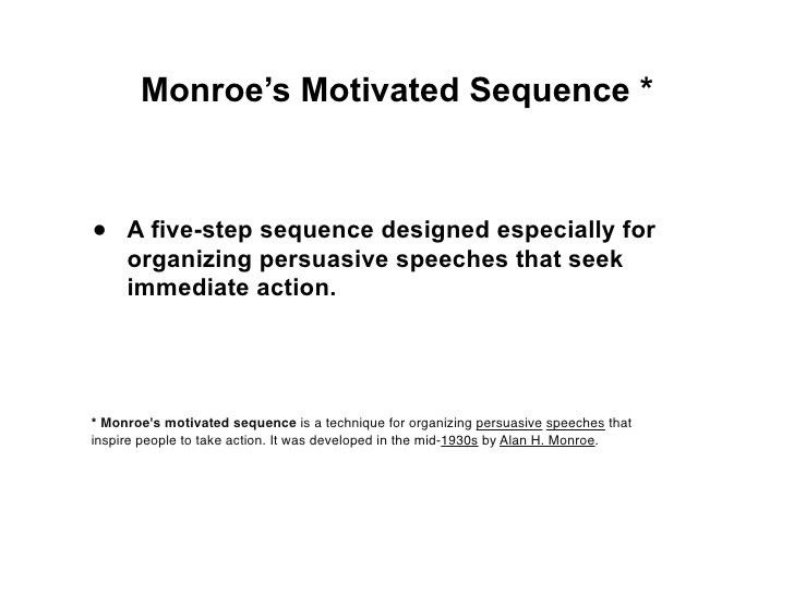 monroes motivated sequence speech essay Sample persuasive speech outline monroes motivated sequence - download as pdf file (pdf), text file (txt) or read online.
