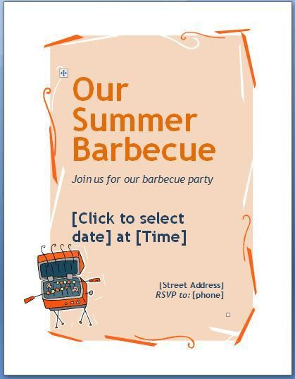 MS Word Family Barbecue BBQ Invitation Flyer Template | Formal ...