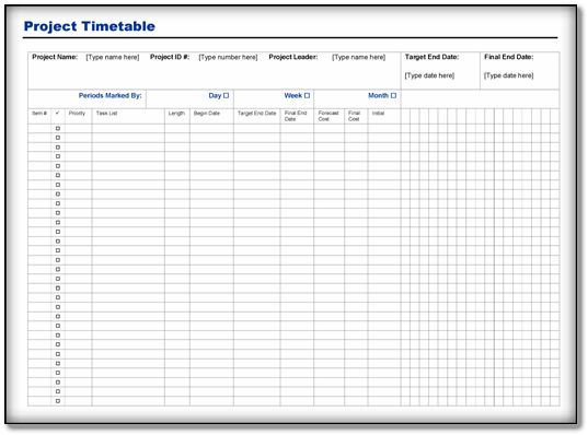 Project Timetable Template {Word-PDF} Format