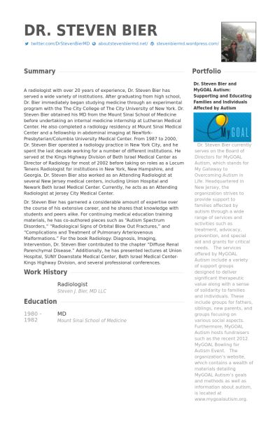 Radiologist Resume samples - VisualCV resume samples database