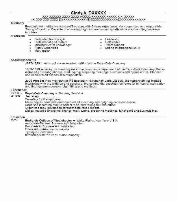 Best Secretary Resume Example | LiveCareer