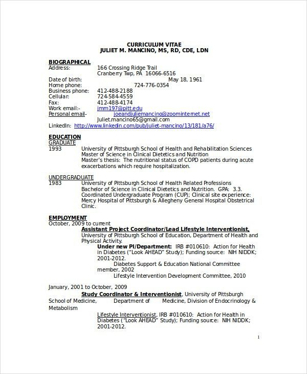 Clinical Dietician Cover Letter 17 Dietician Cover Letters ...