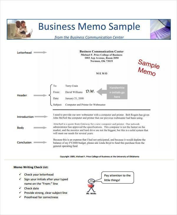Business Memo Format - 8+ Free Sample, Example, Format | Free ...