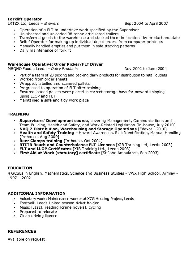 Sample Of Warehouse Supervisor Resume - http://resumesdesign.com ...