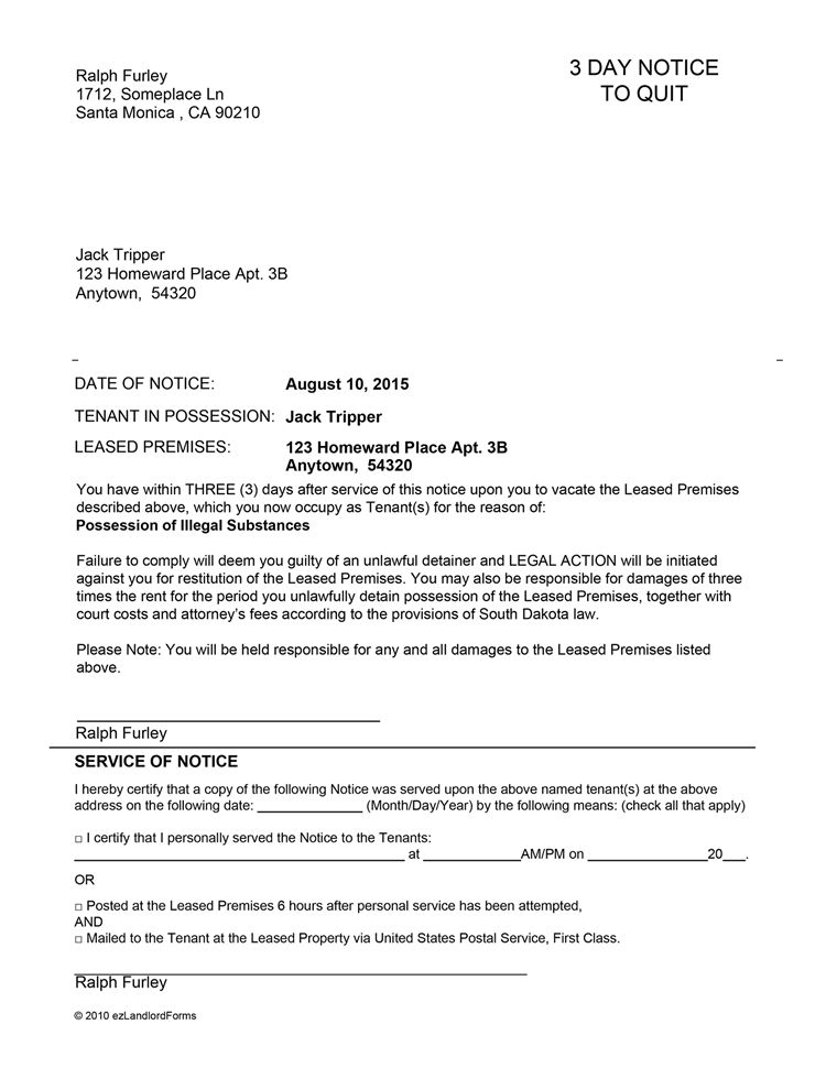 South Dakota 3 Day Notice to Quit | EZ Landlord Forms