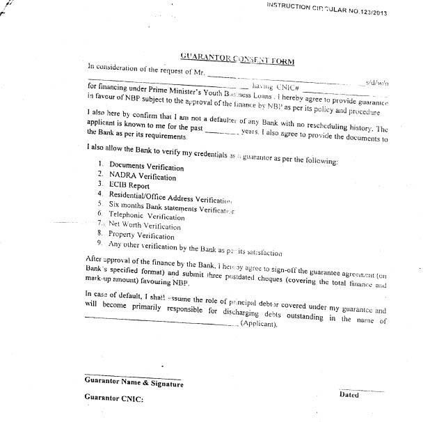 DOWNLOAD NBP Guarantor Consent Form for Prime Minister Youth ...
