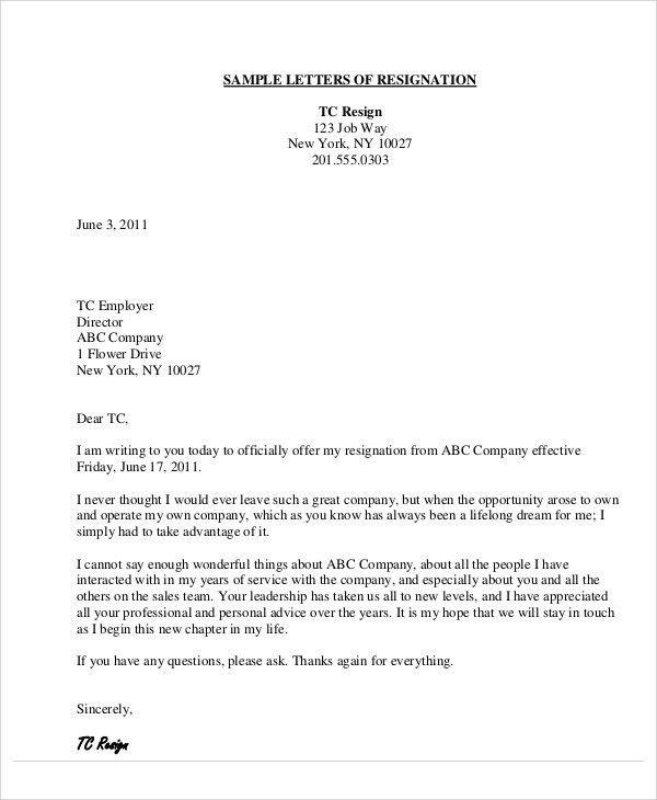 Free Sample Letters Of Resignation | Jobs.billybullock.us