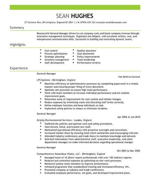 General Manager Resume 5 - uxhandy.com