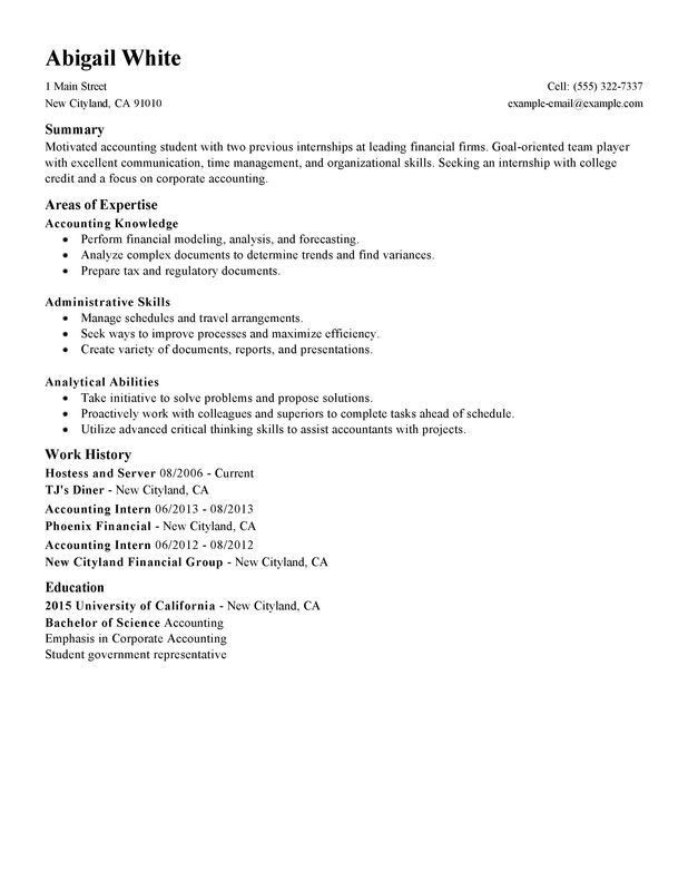 accounting student resume examples
