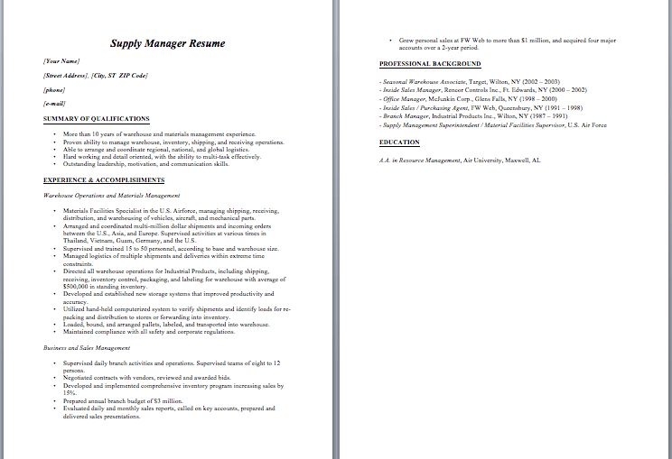 Manager Resume Example – Sample Resumes