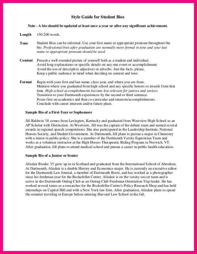 15 Short Student Biography Sample