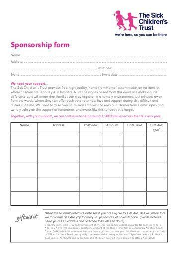 Sponsorship Form Templates - Resume Templates