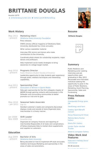 Marketing Intern Resume samples - VisualCV resume samples database