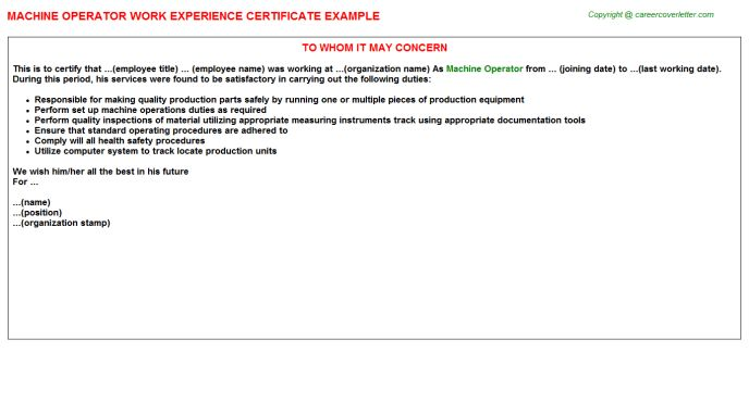 Machine Operator Work Experience Certificate