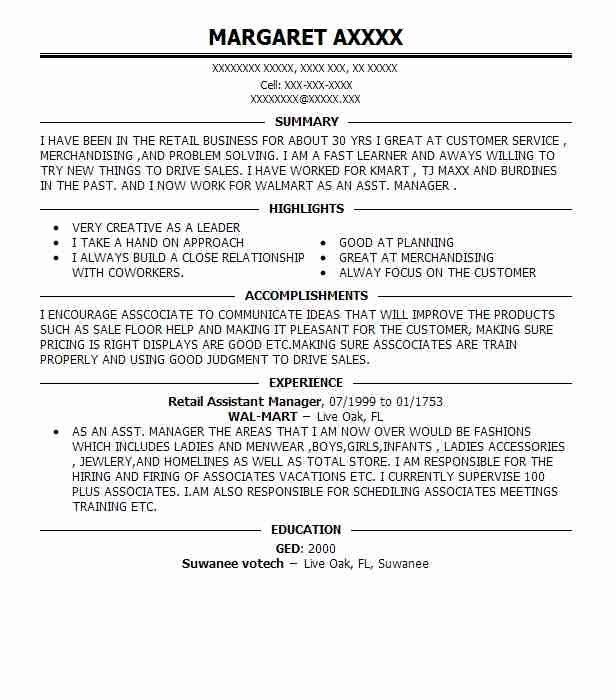 Best Retail Assistant Manager Resume. best retail manager resume ...
