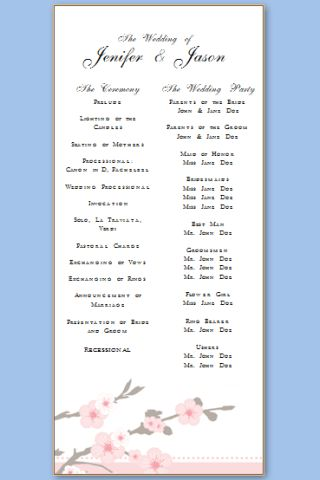 Wedding Program Templates | Free Printable Wedding Program Templates