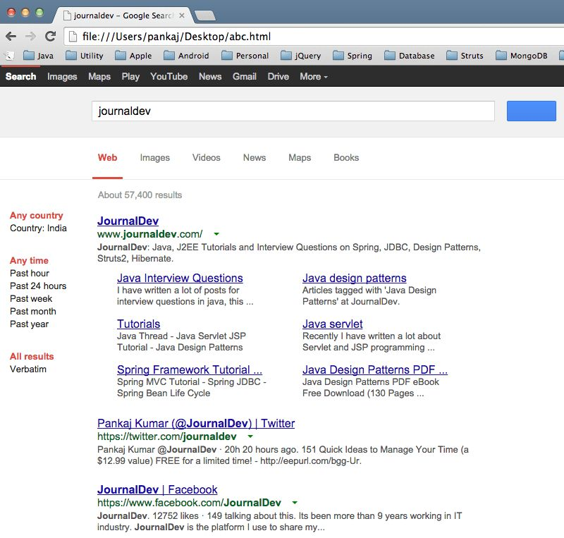 Google Search from Java Program Example - JournalDev