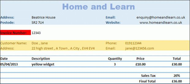 Excel 2007 to Excel 2016 Tutorials: A Business Invoice with ...