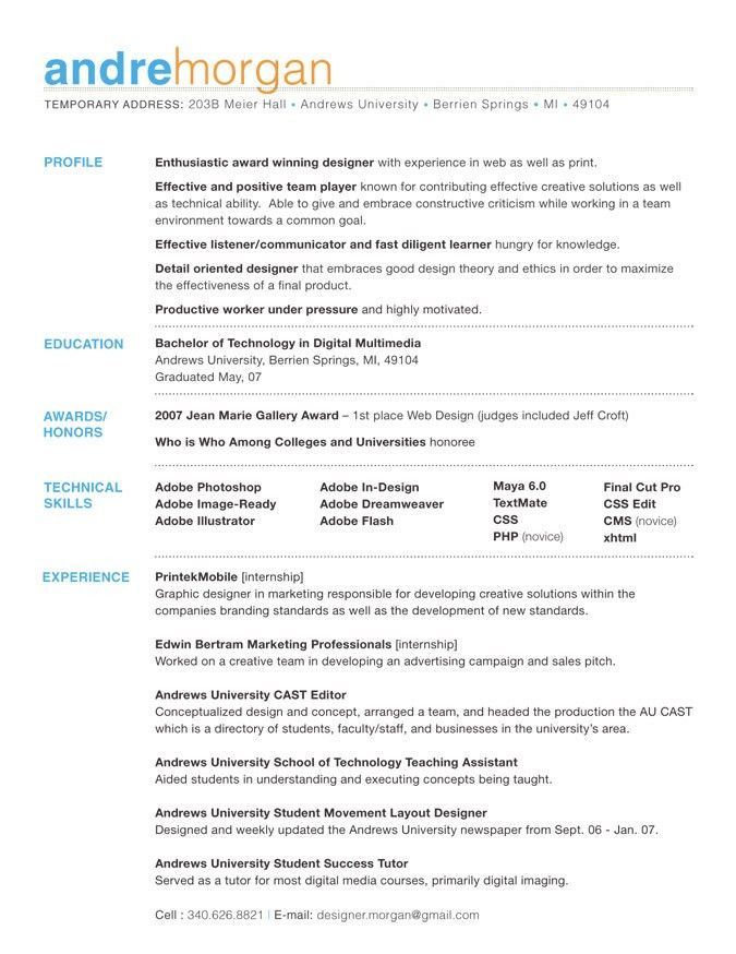 example good resume template